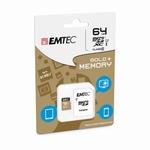 Carte mémoire Micro SDXC 64 GO - Class 10 Gold+ avec adaptat